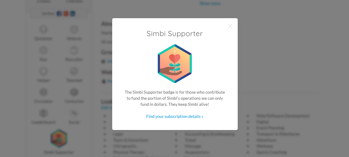 Announcing the Simbi Supporter Badge