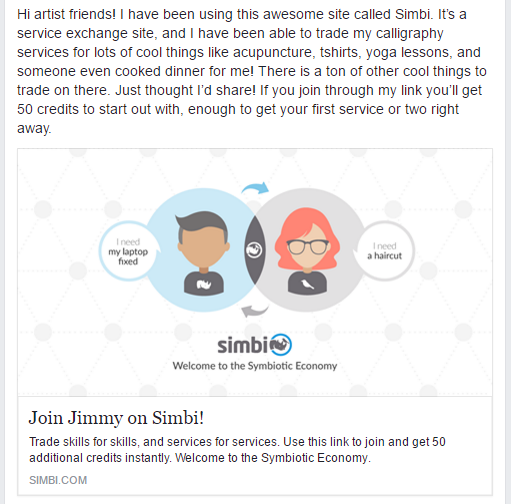 Simbi | Post Referral Link to Facebook groups